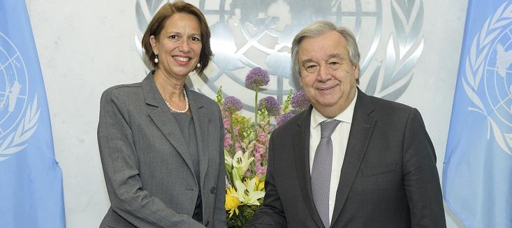 Secretary-General António Guterres (right) meets with Christine Schraner Burgener, his Special Envoy on Myanmar.